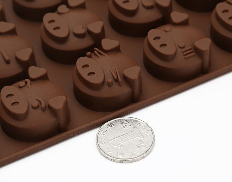 硅胶巧克力模,猪头巧克力模具,小猪烘焙模