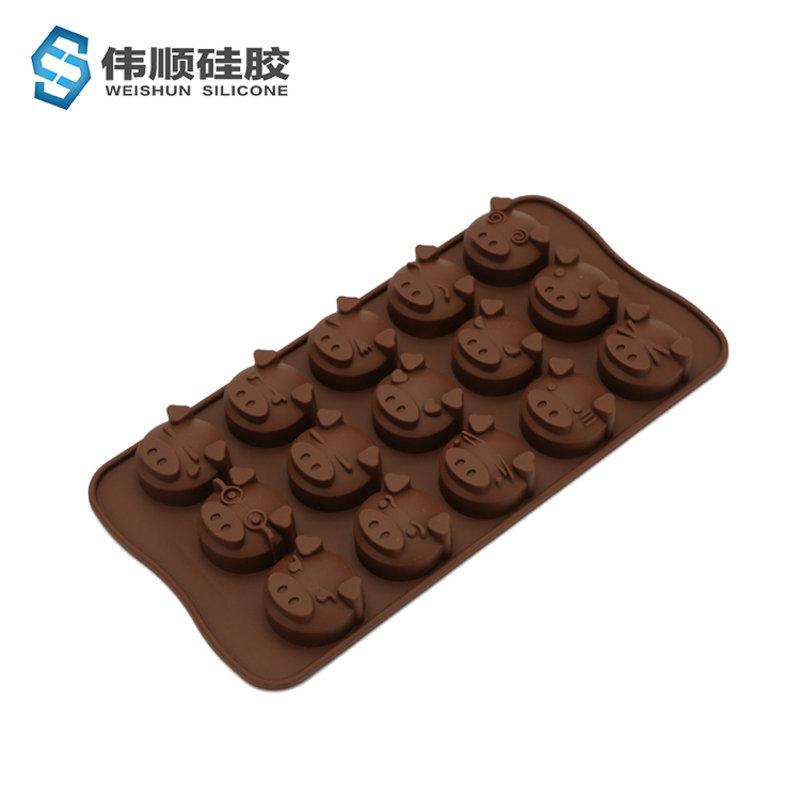 15连猪头巧克力模具