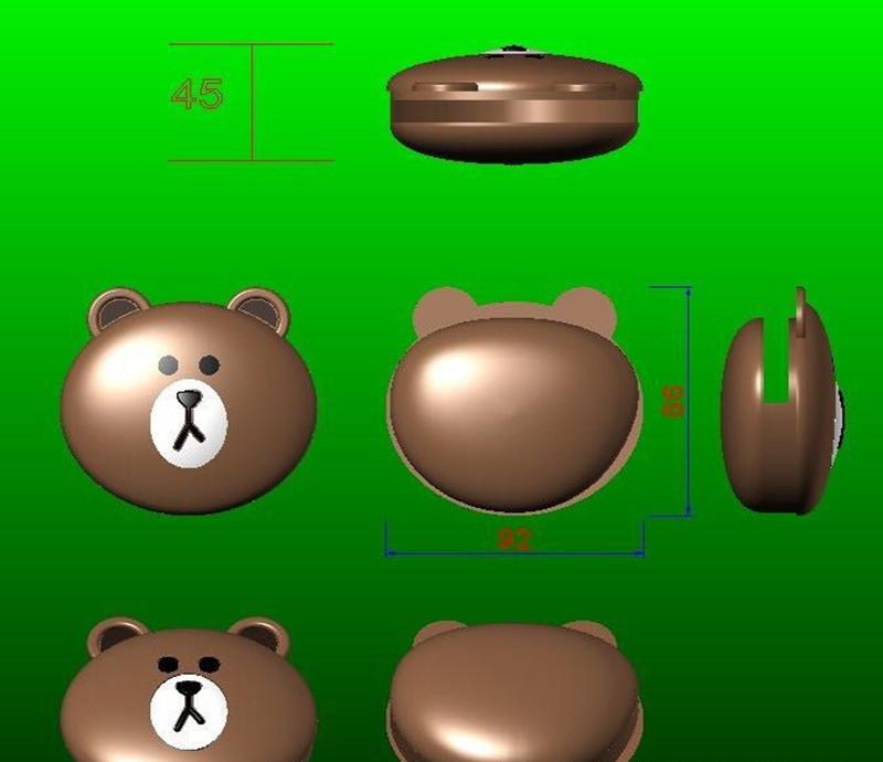 布朗熊硅胶零钱包,小熊钥匙包,卡通熊小钱包