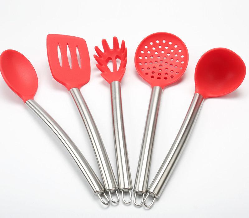 不锈钢硅胶厨具5件套,不锈钢硅胶厨具五件套