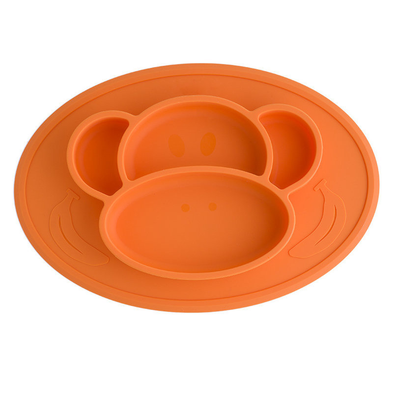 猴子硅胶餐盘,猴脸儿童硅胶餐盘,立体大嘴猴硅胶餐盘