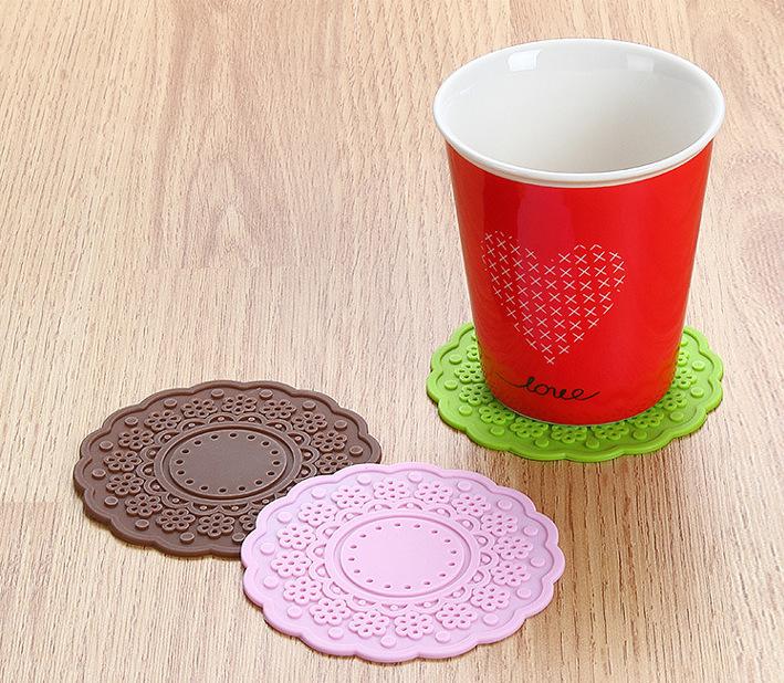 梅花硅胶杯垫,圆形杯垫,梅花图案杯垫