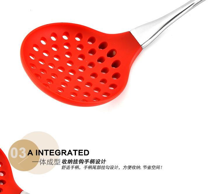 硅胶漏勺,不锈钢柄硅胶漏勺,硅胶捞面勺
