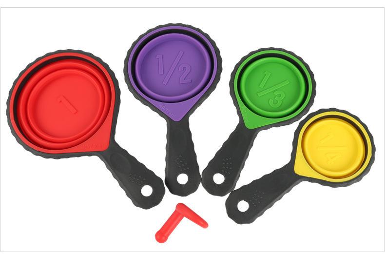 硅胶折叠量杯套装,硅胶量杯四件套,硅胶折叠量勺4件套