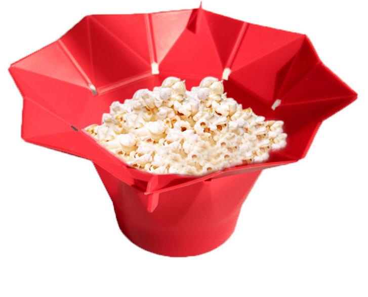 硅胶折叠爆米花桶,便携微波炉爆米花杯,硅胶家用折叠爆米花桶