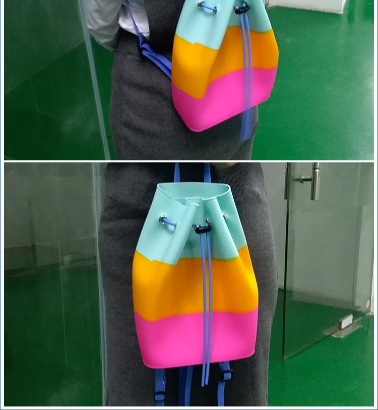 硅胶双肩包,女士双肩小背包,撞色糖果色硅胶背包