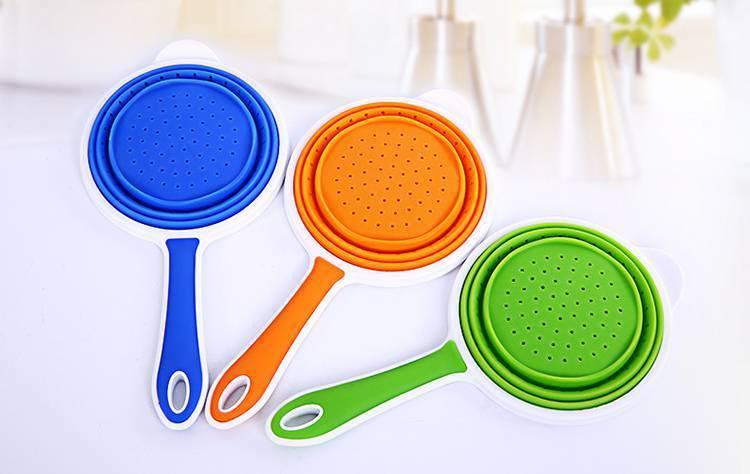 硅胶折叠漏勺-创意硅胶折叠沥水篮-可伸浙江11选五专家预测缩食品级硅胶折叠漏勺