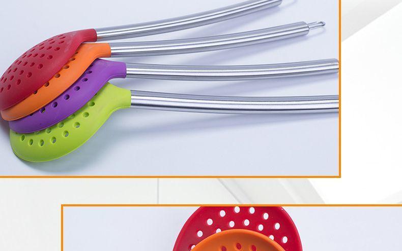 不锈钢硅胶漏勺,不锈钢硅胶漏勺定制,不锈钢硅胶漏勺厂家